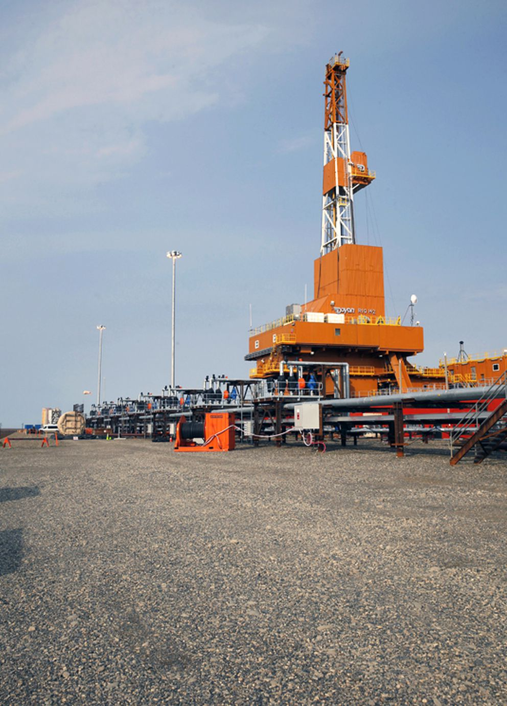 The new Doyon 142 drilling rig operates on the Kuparuk Drill Site 2S pad in August. (Judy Patrick / ConocoPhillips)