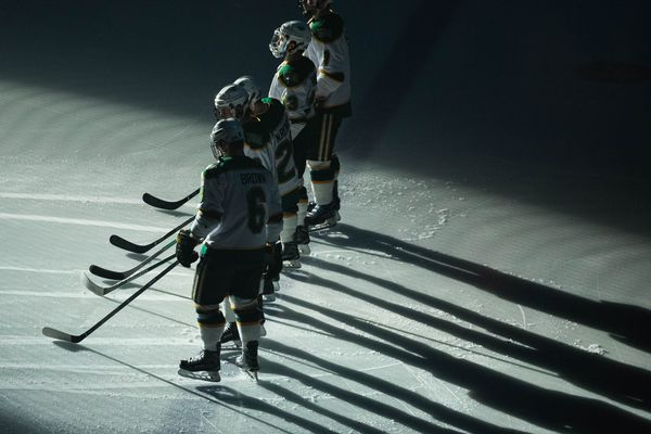 UAA hockey players take to the ice before a game against Bemidji Saturday, Dec. 31, 2016 at the Sullivan Arena in Anchorage. Bemidji won 1-0. (Loren Holmes / Alaska Dispatch News)