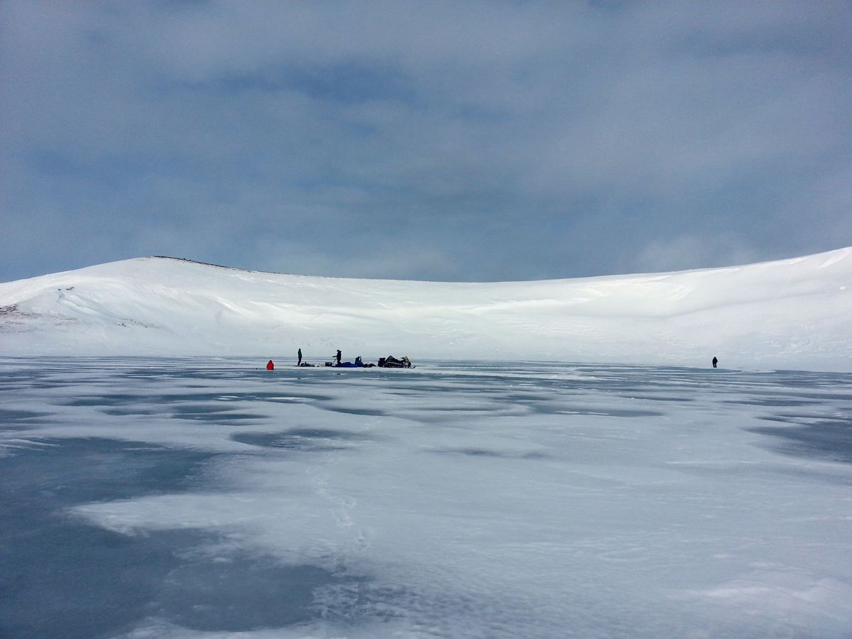 A research team sets up on a frozen lake on St. Paul Island in 2013. Isotope analysis from the Bering Sea island has determined a likely extinction cause for its remnant mammoth population. (Matthew Wooller)