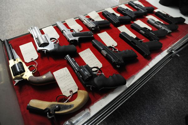 Handguns for sale at Southside Trade and Loan Co. Inc., on Tuesday, Oct. 18, 2016. (Bill Roth / Alaska Dispatch News)