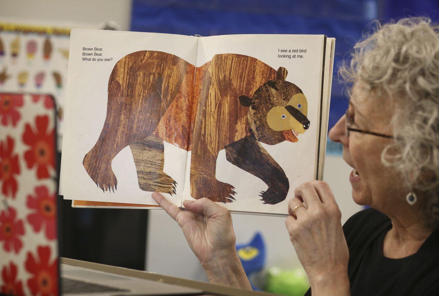 Karen Gordon reads a book to her first kindergarten class of the school year over Zoom on Tuesday. (Emily Mesner / ADN)