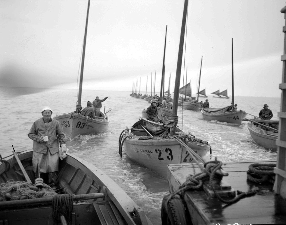 Fishermen are towed to fishing grounds circa 1948. (Ward Wells collection / Anchorage Museum)