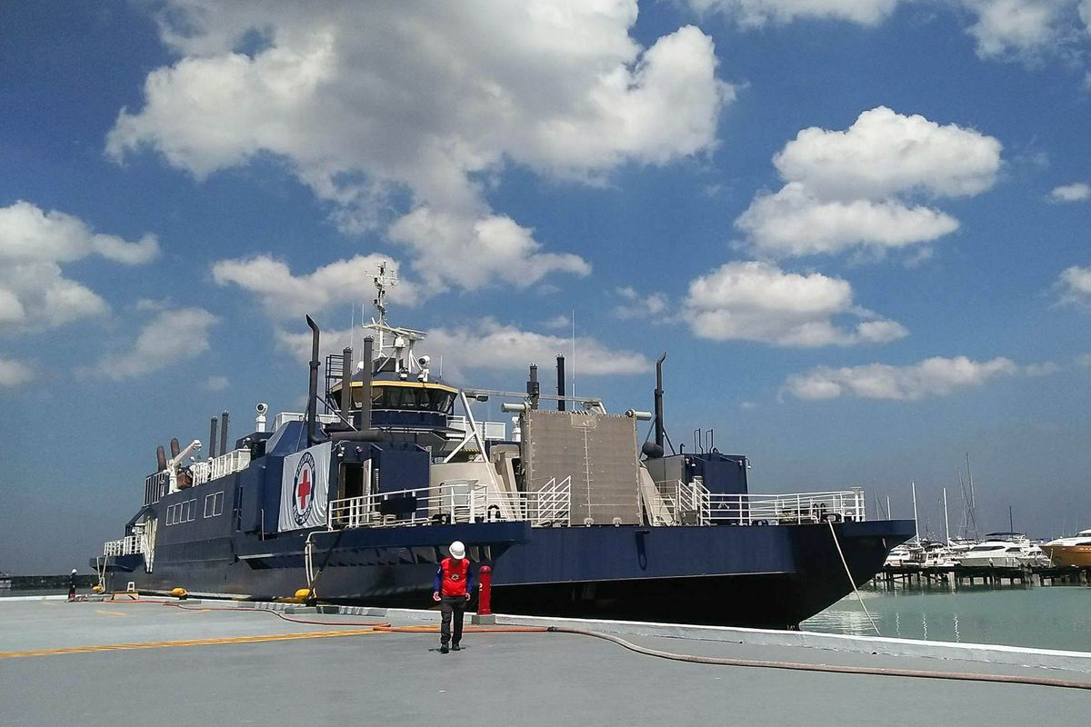 The Philippine Red Cross' first and only humanitarian ship, formerly a ferry owned by the Mat-Su Borough, will be used as a marine ambulance and disaster response vessel. (Philippine Red Cross via Facebook)