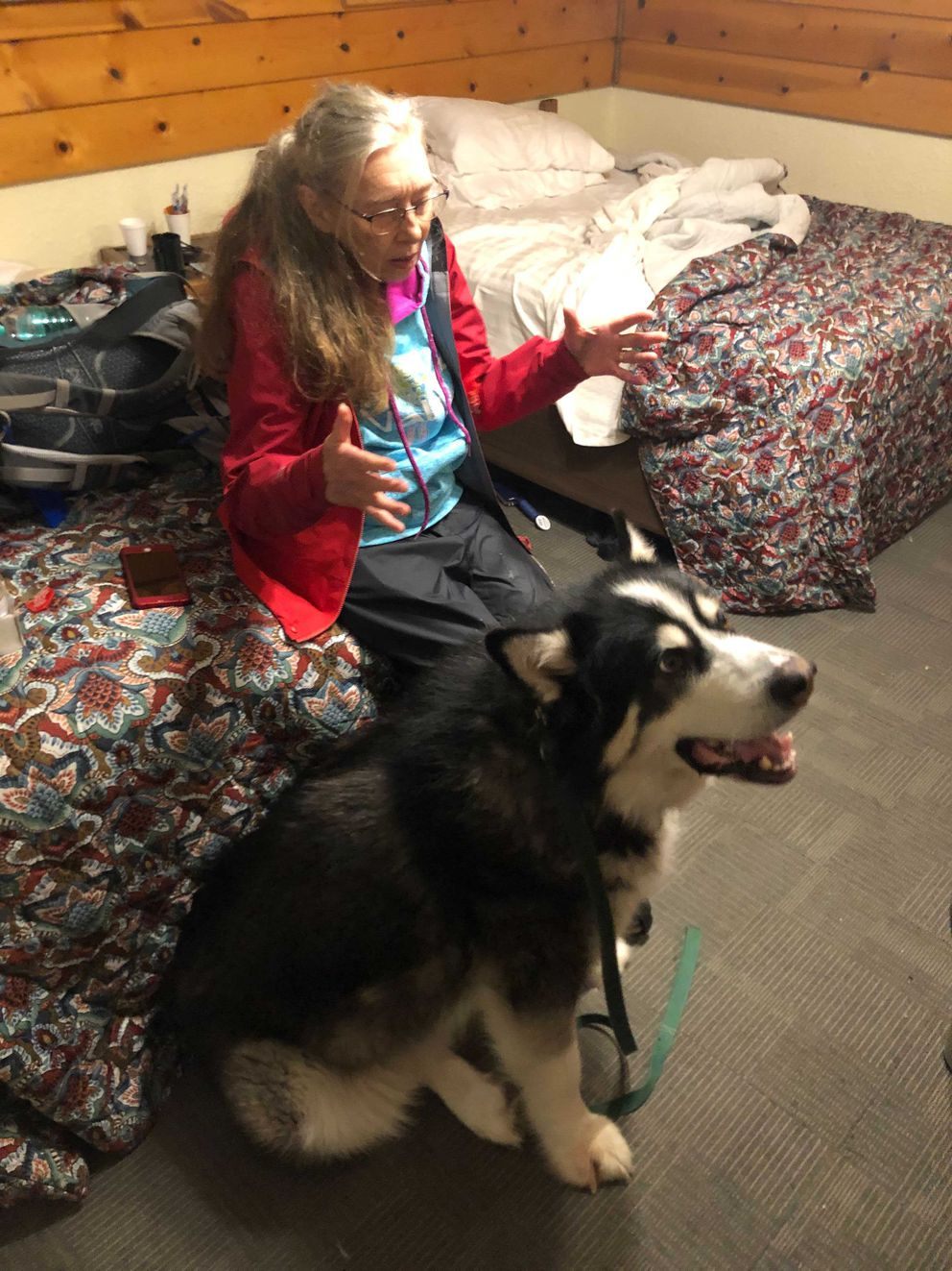 Dawn Woodard, 75, photographed at Captain's Choice Motel in Haines with her malamute Gooch on Sunday, Dec. 6, 2020. (James Brooks / ADN)