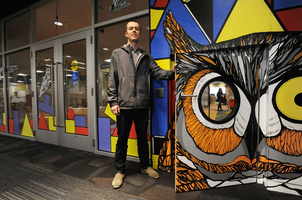 "Artist Owen Tucker created the 1 Percent for Art piece ""Look"" at the entryway to the Kids' Zone in the Loussac Library. (Bill Roth / Alaska Dispatch News)"