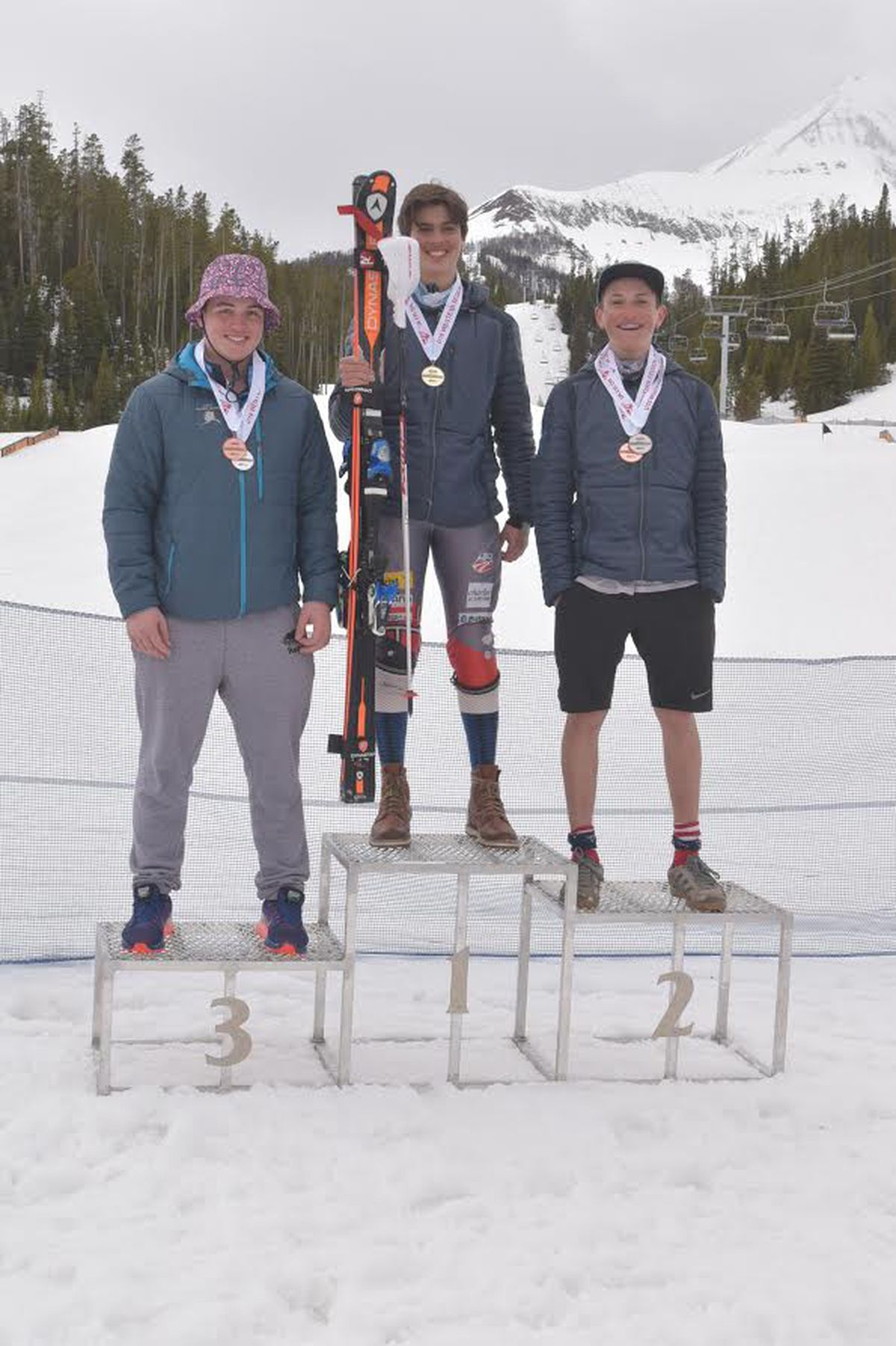 Anchorage skier Connor Lane, left, earned third place in the overall standings Sunday at the Western Regional Ski Championships in Big Sky, Montana. (Courtesy Alyeska Ski Club).