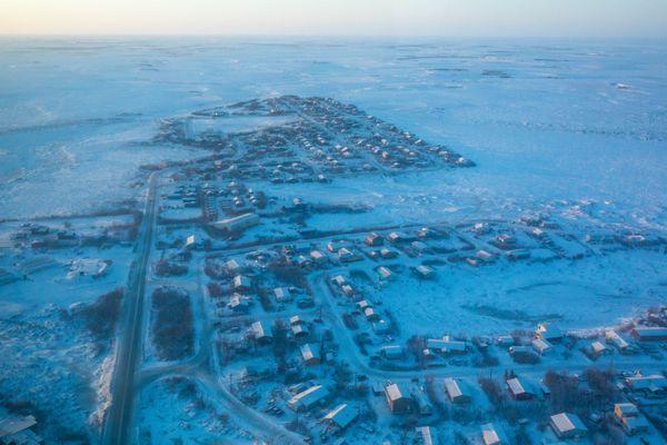 An aerial view of Bethel, Alaska on Saturday, Jan. 21, 2017. (Loren Holmes / Alaska Dispatch News)