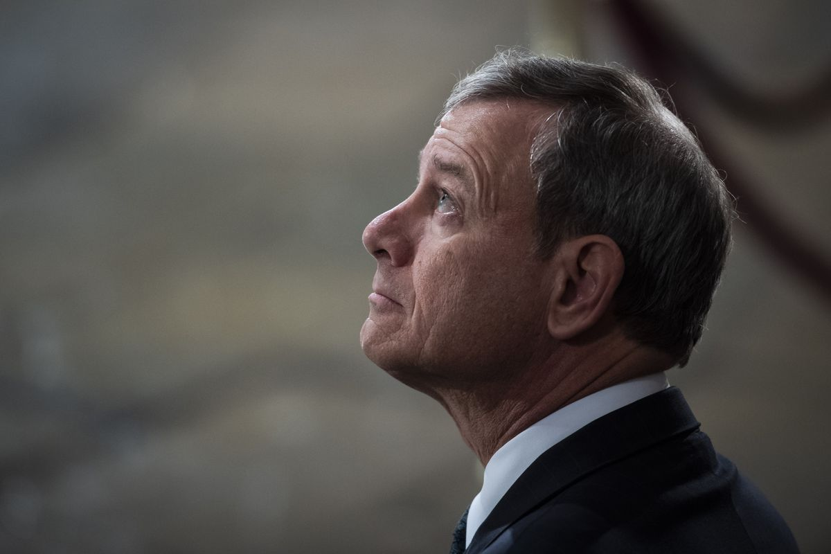 Chief Justice John Roberts Jr. sits at the center of the Supreme Court's ideological spectrum. (Washington Post photo by Jabin Botsford)