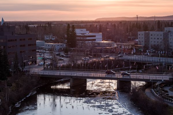 Downtown Fairbanks, Alaska and the Chena River. Photographed Wednesday, Oct. 16, 2019. (Loren Holmes / ADN)