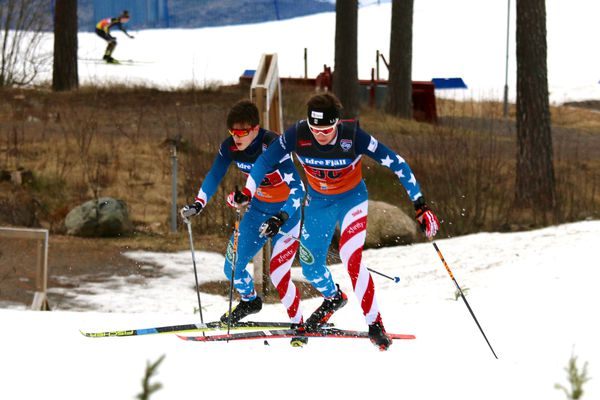U.S. skier Michael Earnhart, left, chases fellow American Alexander Maurer in the opening leg of the 3x5-kilometer boys relay race at the Scandic Cup international ski race series in Falun, Sweden, on Sunday, Jan. 26, 2020. Earnhart, an Alaska Nordic Racing skier from Eagle River, wound up passing Maurer, an Alaska Winter Stars skier from Anchorage, to finish with the fifth-fastest time in the leg (11 minutes, 11.6 seconds), less than a second ahead of Maurer (11:12.2). Maurer's team finished 7th overall and Earnhart's was 8th in a field of 25 teams, most of them from Sweden, Norway and Finland. (Photo by Erik Maurer)