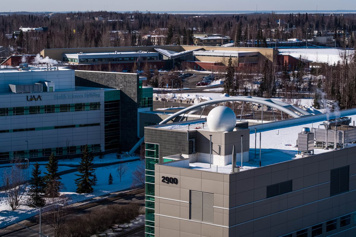 Buildings on the campus of the University of Alaska Anchorage, photographed Tuesday, March 31, 2020. (Loren Holmes / ADN)