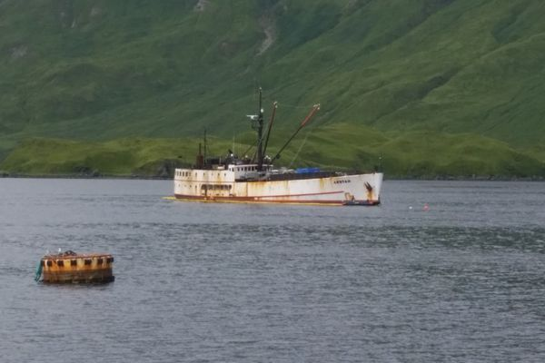 Multiple agencies respond to the fishing vessel Akutan in Captains Bay near Unalaska, Alaska, August 18, 2017. A unified command was established to mitigate potential pollution and environmental impact from the vessel. U.S. Coast Guard photo