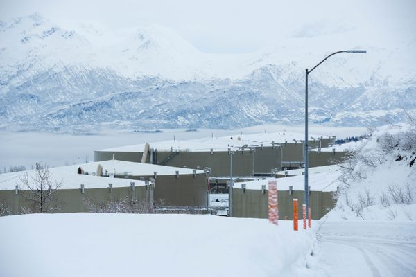 Each of the 14 crude oil storage tanks in the Valdez Marine Terminal's east tank farm is 62 feet tall, and 1 acre wide, photographed on Feb. 15, 2016. (Loren Holmes / Alaska Dispatch News)