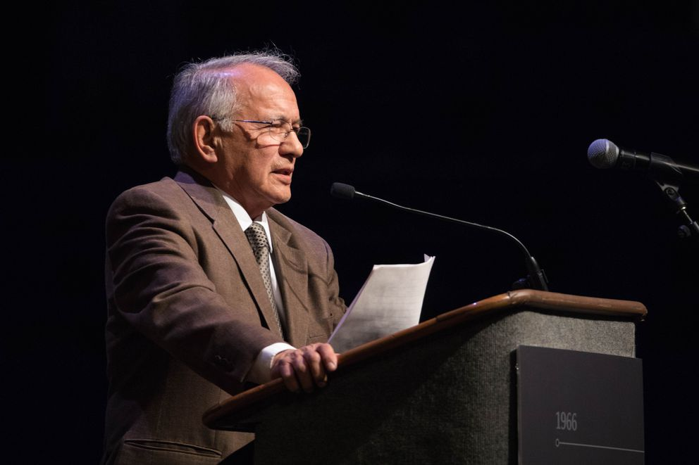 Emil Notti delivers the keynote address on the first day of the Alaska Federation of Natives convention at the Carlson Center in Fairbanks in 2016. (Loren Holmes / ADN archive)