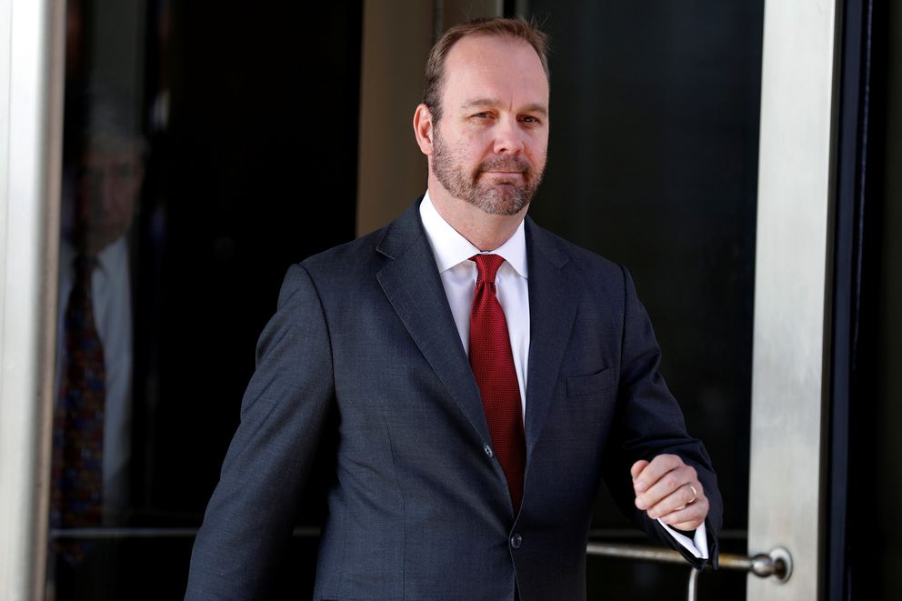 FILE PHOTO: Rick Gates, former campaign aide to U.S. President Donald Trump, departs after a bond hearing at U.S. District Court in Washington, U.S., December 11, 2017. REUTERS/Joshua Roberts/File Photo