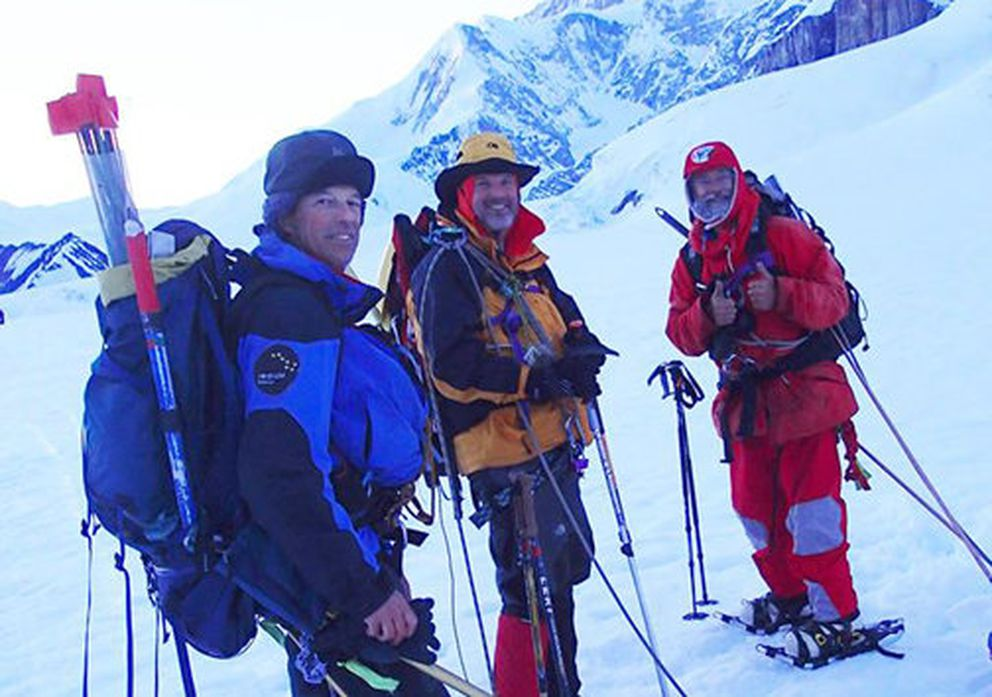 Bruce Kittredge (left), Steve Gruhn and Tom Choate at the start of their 2013 Denali climb. Choate, 78, became the oldest person ever to reach the summit of Mt. McKinley on June 28, 2013. National Park Service photo.