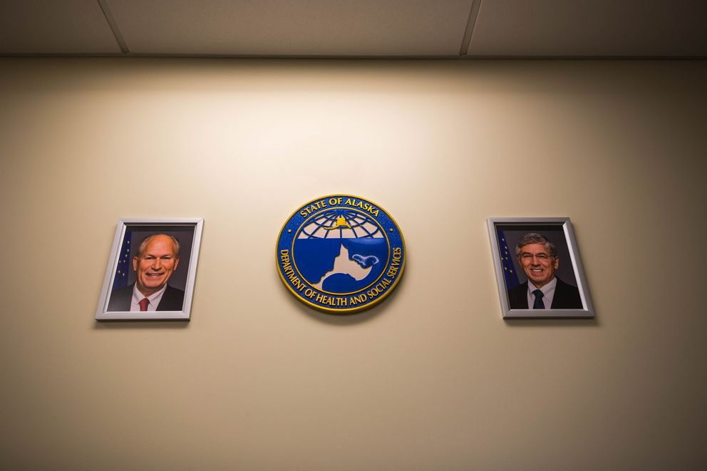 Portraits of Alaska Governor Bill Walker, left, and Lt. Governor Byron Mallott in the administration offices at the Alaska Psychiatric Institute, Wednesday, Jan. 6, 2016. (Loren Holmes / ADN)