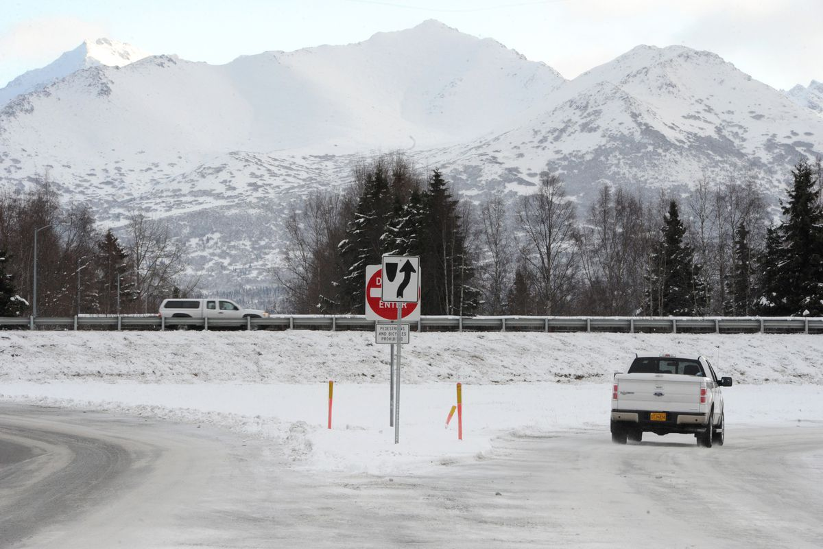 Location of the proposed Seward Highway overpass at Scooter Avenue looking eastbound towards Academy Drive on Monday, Nov. 18, 2019. (Bill Roth / ADN)