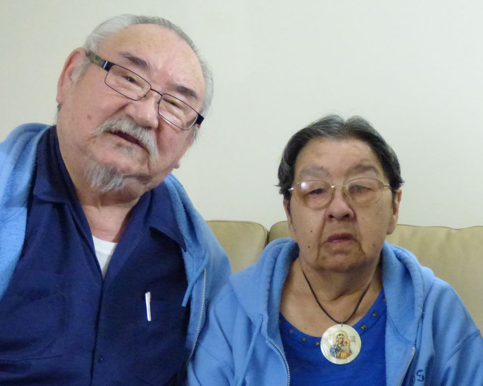 Elizabeth Golodoff Kudrin, one of two surviving Attuans imprisoned in Japan during World War II and her husband George Kudrin. (Photograph courtesy of Aleutian Pribilof Islands Association).