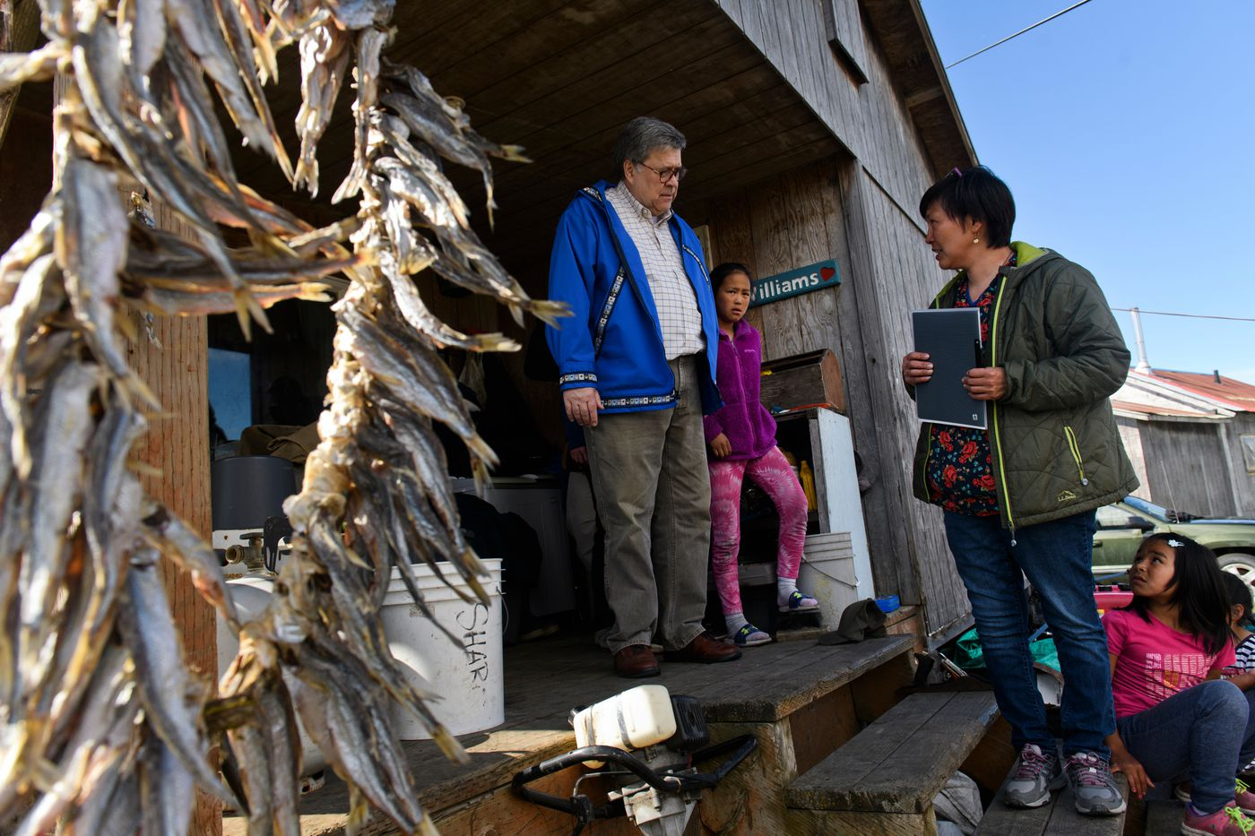 U.S. Attorney General William Barr tours the home of Napaskiak tribal administrator Sharon Williams on May 31, 2019, in Napaskiak. (Marc Lester / ADN)