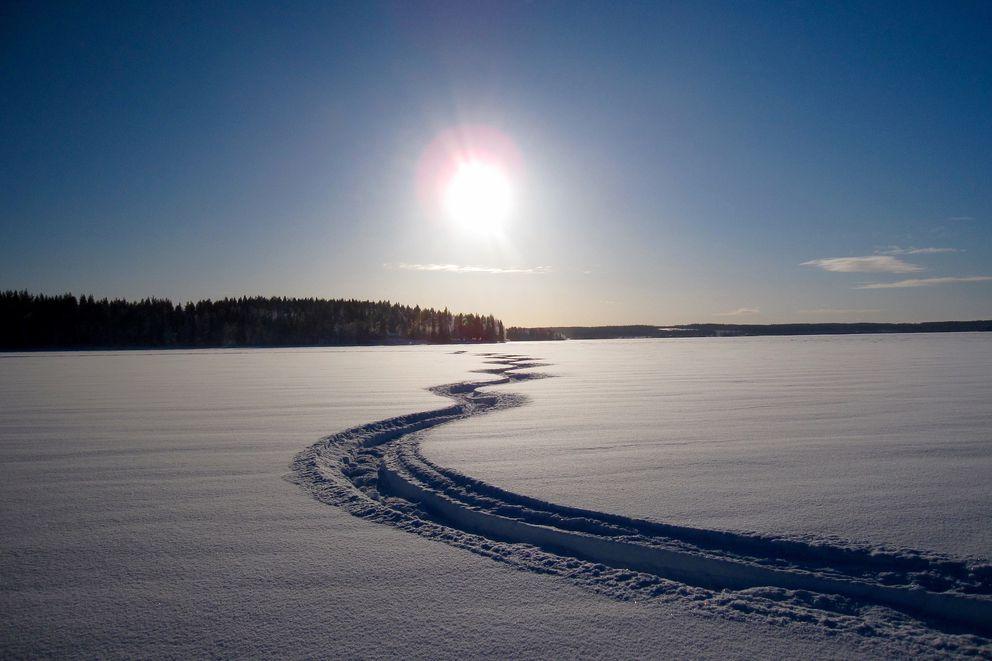 Snowmachine tracks. (Pixabay)