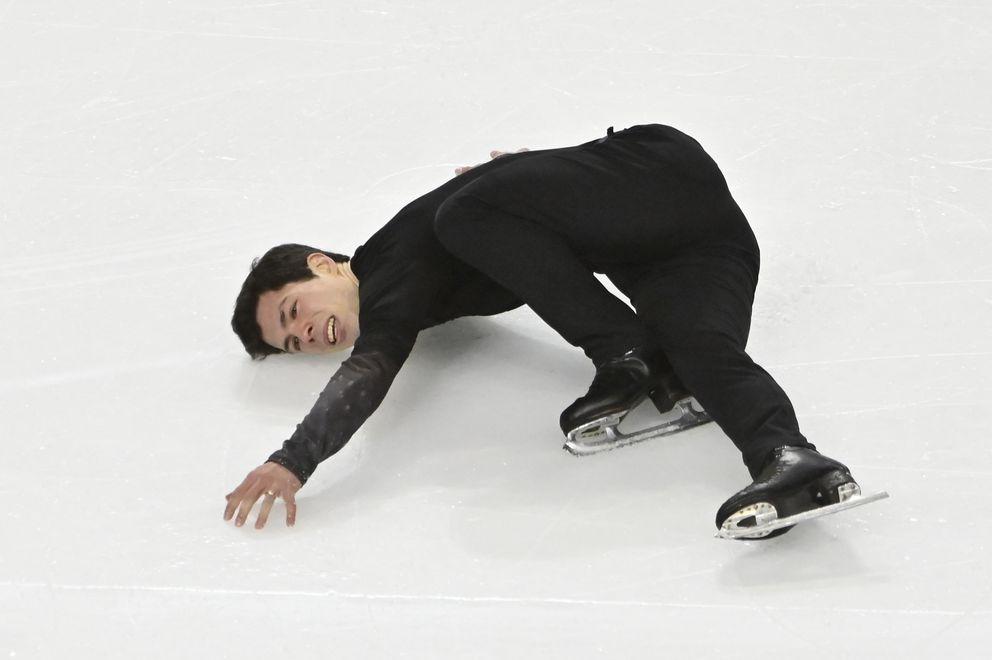Keegan Messing hydroblades Saturday at Skate America in Las Vegas. (AP Photo/David Becker)