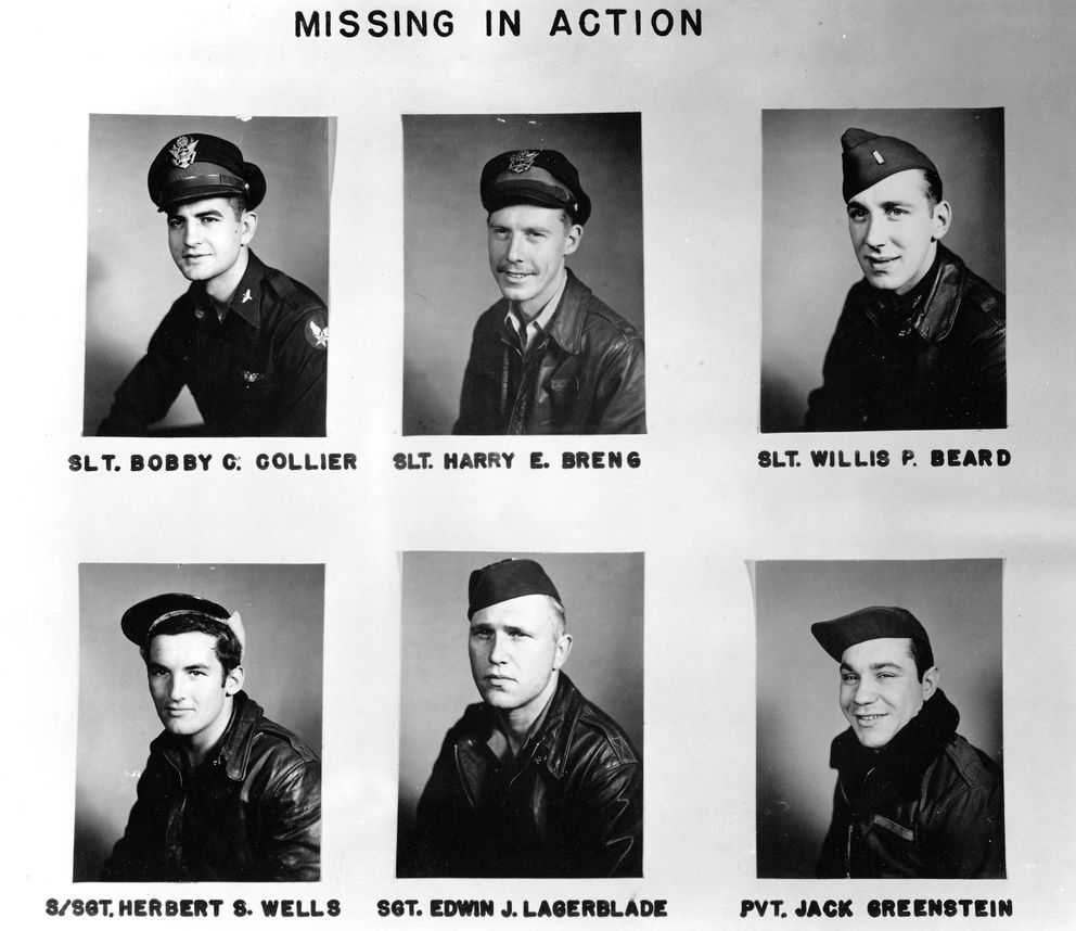 Some of the American airmen lost in missions over the Kuril Islands. (Army Air Force, Hist., 77th Bomb Squadron, Air Force Historical Research Agency)