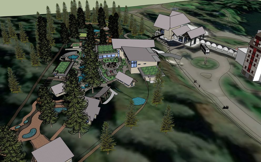 The Alyeska Nordic Spa is scheduled to open late summer 2021. (Artist rendering provided by Z Architects)
