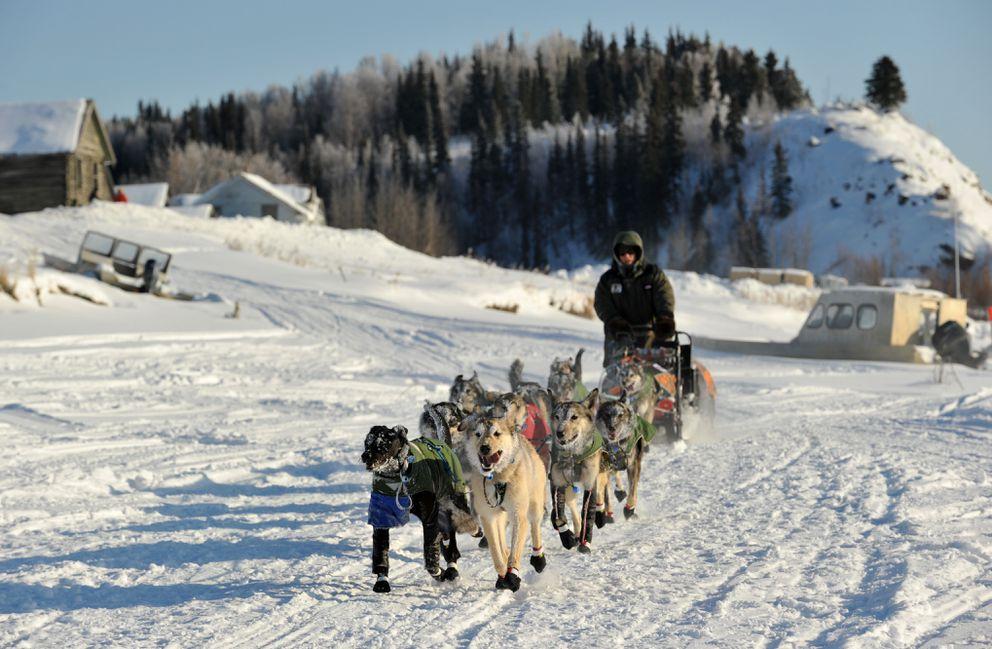 Iditarod musher Jeff King pulls into the Nulato Checkpoint during the 2017 Iditarod Trail Sled Dog Race on Sunday, March 12, 2017. (Bob Hallinen / Alaska Dispatch News)