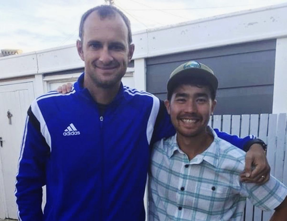 In this October 2018 photo, American adventurer John Allen Chau, right, stands for a photograph with Founder of Ubuntu Football Academy Casey Prince, 39, in Cape Town, South Africa, days before he left for in a remote Indian island of North Sentinel Island, where he was killed. Chau, who kayaked to the remote island populated by a tribe known for shooting at outsiders with bows and arrows, has been killed, police said Wednesday, Nov. 21. Officials said they were working with anthropologists to recover the body. (AP Photo/Sarah Prince)