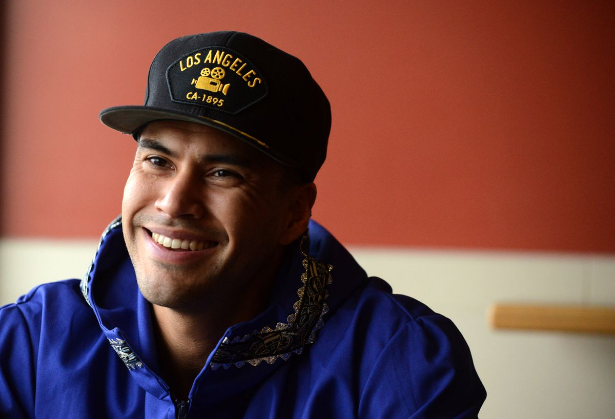 "Martin Sensmeier talks about growing up in Yakutat, working on the North Slope and breaking into the movies before the opening of ""The Magnificent Seven"" at the Regal Cinemas Stadium 16 at the Tikahtnu Commons in Anchorage on Friday. Sensmeier is one of the stars of the movie that opened nationwide on Friday. (Bob Hallinen / Alaska Dispatch News)"