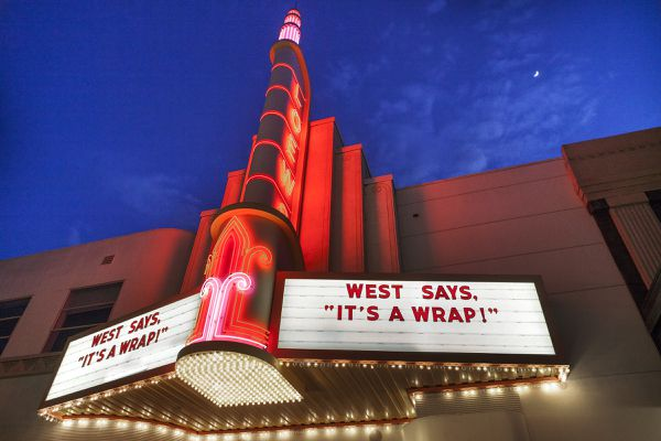 A marquee features one of Howard West's favorite sayings at the Memorialpalooza that Dayna West gave for her late father at the Sony Pictures Studio in 2015. MUST CREDIT: Photo for The Washington Post by Spike Mafford.