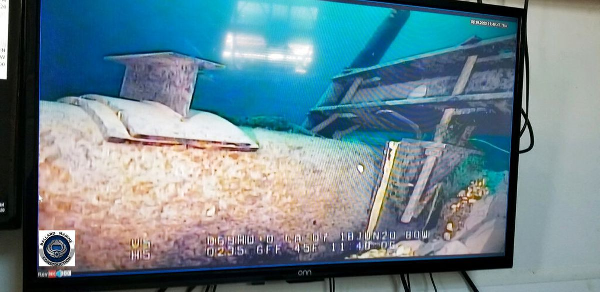 FILE - This June 2020, file photo, shot from a television screen provided by the Michigan Department of Environment, Great Lakes, and Energy shows damage to anchor support EP-17-1 on the east leg of the Enbridge Line 5 pipeline within the Straits of Mackinac, Mich. Gov. Gretchen Whitmer has ordered the pipeline shut down because of concerns about a potential spill in the channel that connects Lake Huron and Lake Michigan. Enbridge is resisting the order with the support of Canadian officials who say Line 5 is essential to their economy. The disagreement comes months after U.S. President Joe Biden upset Canada by canceling the Keystone XL oil pipeline project. (Michigan Department of Environment, Great Lakes, and Energy via AP, File)