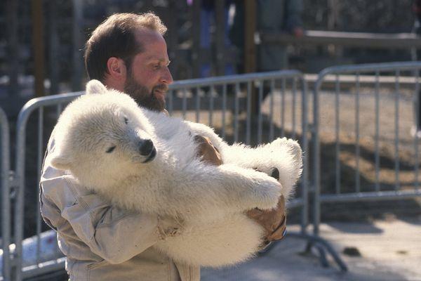 Pat Lampi, the current executive director of the Alaska Zoo holds the polar bear cub, Ahpun, on April 23, 1998. (Bob Hallinen / ADN)