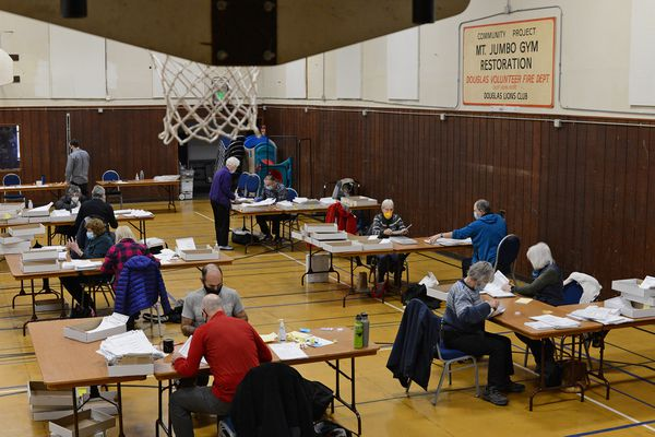 Basketball nets hang above election workers at Mount Jumbo Gym on Wednesday, Nov. 18, 2020 in Juneau, Alaska. (James Brooks / ADN)