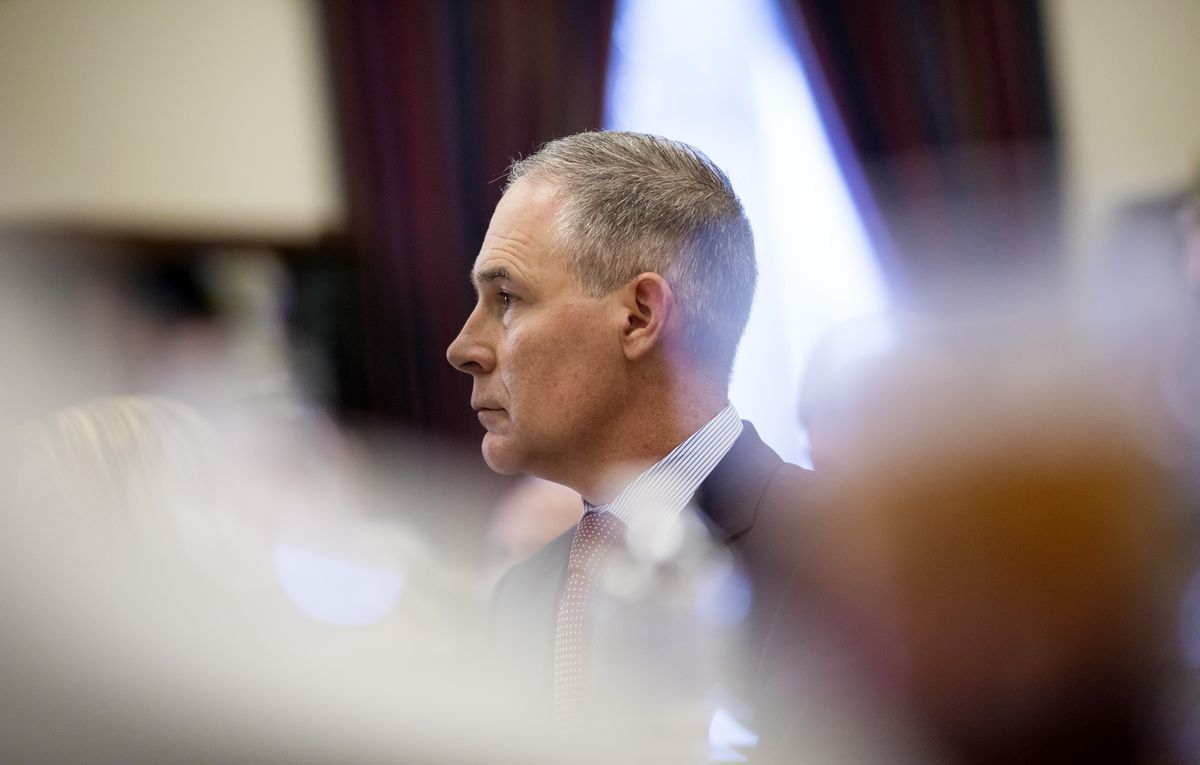 Scott Pruitt, administrator of the Environmental Protection Agency, at a budget hearing at the U.S. Capitol in Washington, April 26, 2018. (Eric Thayer/The New York Times)