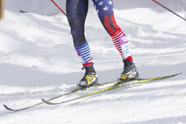 United States' Kikkan Randall skis during a women's semifinal at the cross-country team sprint competitions at the 2014 Winter Olympics, Wednesday, Feb. 19, 2014, in Krasnaya Polyana, Russia.