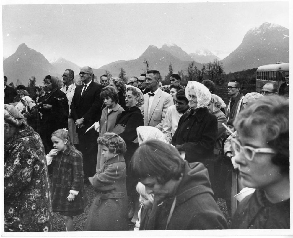Survivors of the Valdez tsunami gather for a memorial service shortly after the 1964 earthquake. (ADN archive)