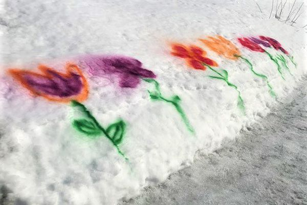 A snow berm in Soldotna is spray-painted with flowers. A sister and brother team, ages 9 and 11, wanted to bring some joy to people during the pandemic. (Kathleen Tarr photo)