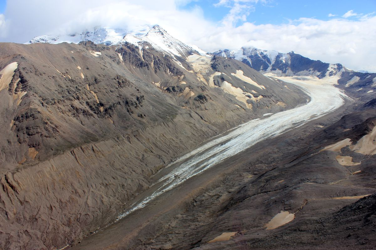 Jarvis Glacier is shown in late summer with 9,300-foot Silvertip. Jarvis Glacier is in the Alaska Range south of Delta Junction. (Anna Liljedahl)