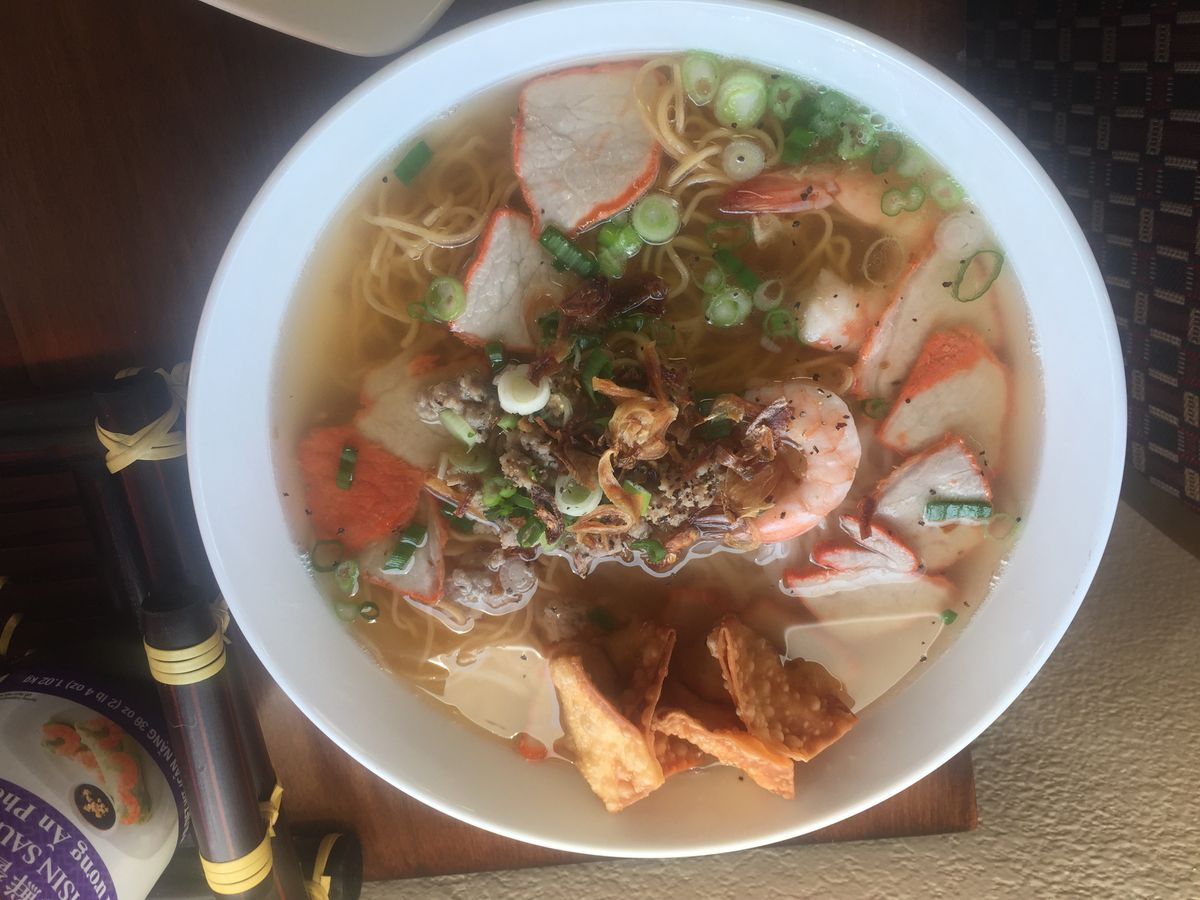 Hu tieu mi nuoc, a seafood noodle soup, at Gia Dinh, a new Vietnamese restaurant in Anchorage. (Mara Severin)