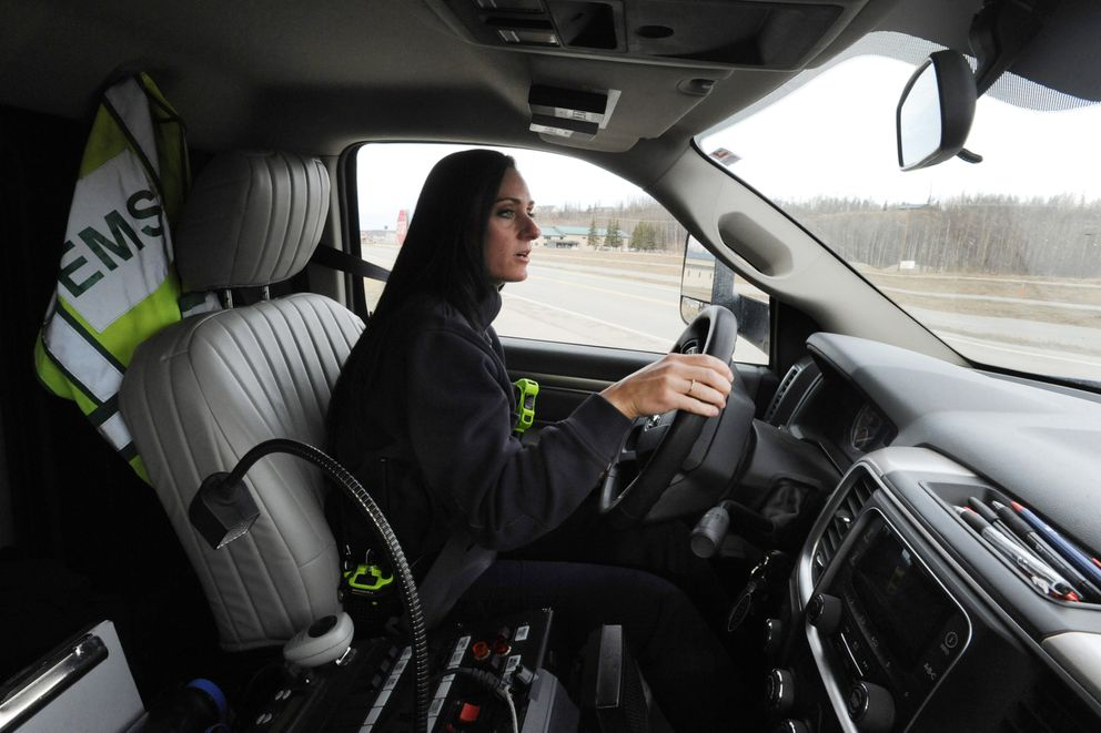Matanuska-Susitna Borough Paramedic April Yost in Central Ambulance 1 on Wednesday, March 20, 2019. The Matanuska-Susitna Borough assembly approved adding 25 EMT's and paramedics to staff ambulances. (Bill Roth / ADN)