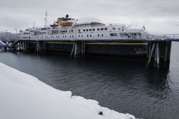 The Alaska Marine Highway's Matanuska is tied up at the Auke Bay Terminal in Juneau, Alaska, with engine problems on Friday, Jan. 31, 2020. (Michael Penn)