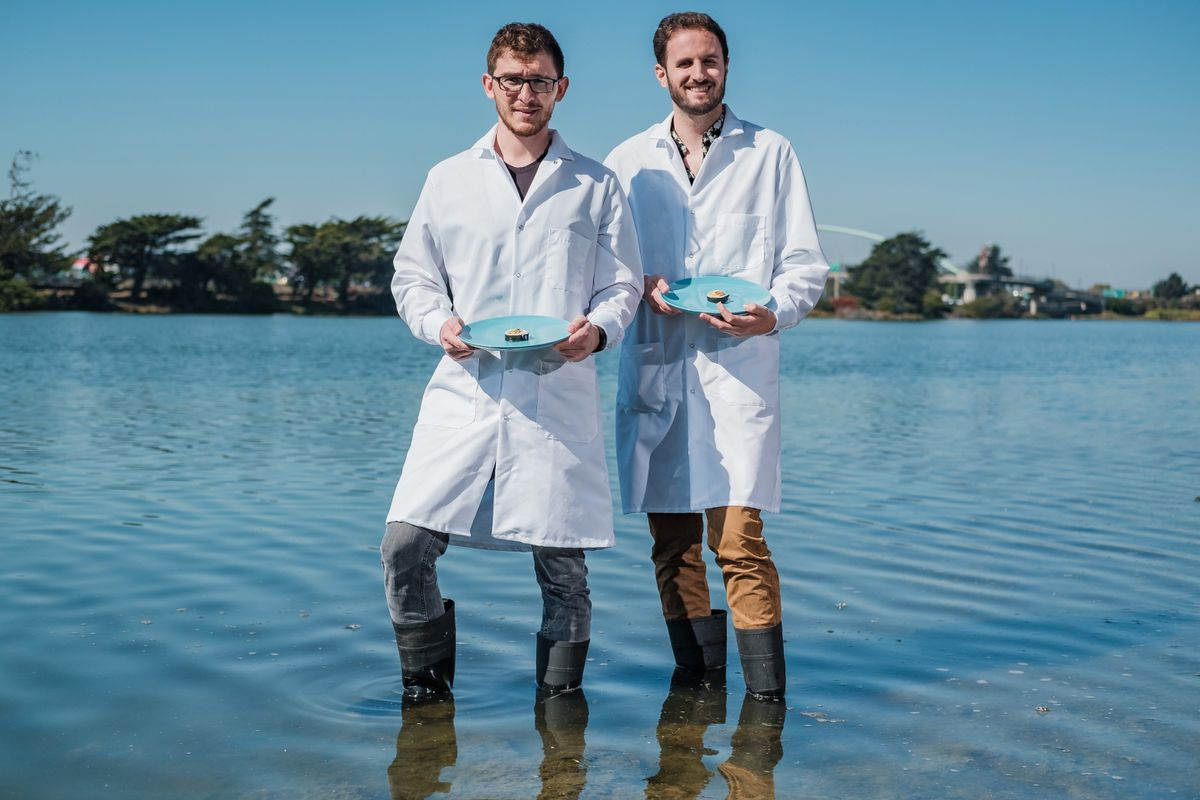 Brian Wyrwas, left, and Mike Selden, founders of Finless Foods. Photo by Nick Otto for The Washington Post.