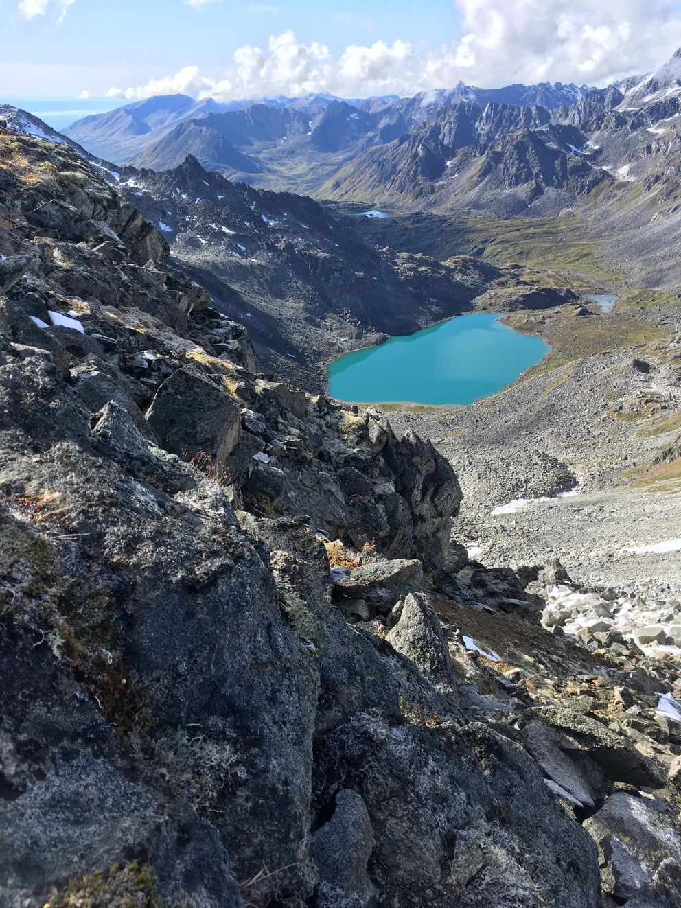 A view of Upper Reed Lake from Bomber Pass in the Talkeetna Mountains. (Photo by Alli Harvey)