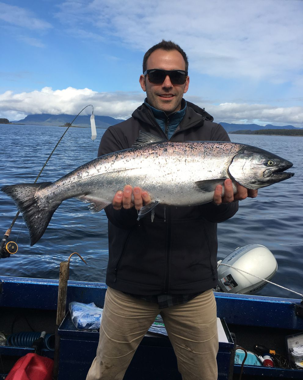 Jeff Harasimowicz shows off the king salmon he caught on his first trip to Metlakatla in 2017. (Photo courtesy Jeff Harasimowicz)