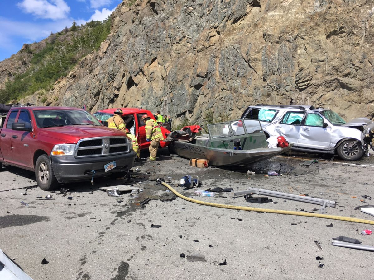 A crash involving multiple vehicles near McHugh Creek shut down the Seward Highway just after 1 p.m. Sunday, July 9. (Photo by Kerry Tasker)