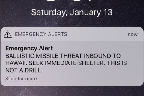 A screen capture from the Twitter account of Rep. Tulsi Gabbard, D-Hawaii, shows the missile warning issued Saturday, Jan. 13, 2018.