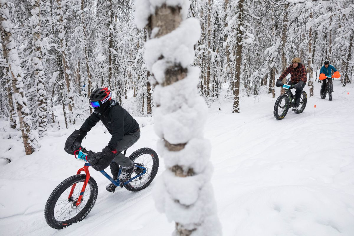 Bikers travel through the woods at Mirror Lake during a fat-tire bike race last week. (Loren Holmes / ADN)