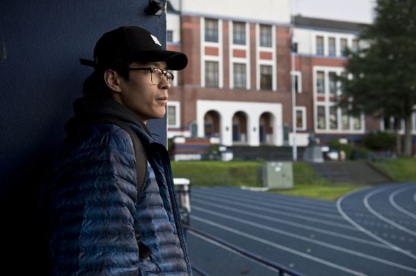 Kamaka Hepa waits to enter the Jefferson High School gym before a practice in February. Hepa moved with family members to Portland from Utqiagvik two years agoin hopes of gaining exposure to basketball opportunities. (Marc Lester / ADN)